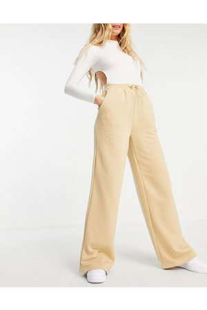 NA-KD Co-ord organic cotton wide leg trackies in -Neutral