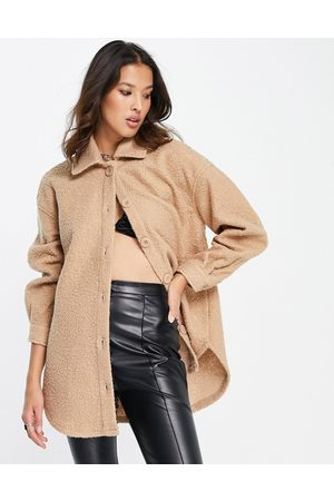 ONLY Teddy oversized shacket in -Neutral
