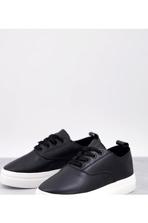 London Rebel Wide Fit flatform lace up sneakers in