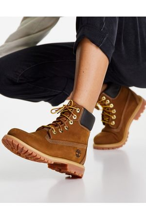 Timberland 6 inch premium lace up flat boots in -Brown