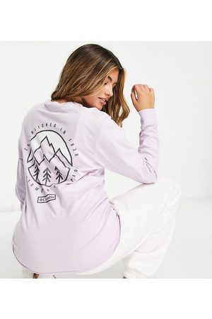 Columbia Cades Cove long sleeve back print t-shirt in Exclusive at ASOS-Purple