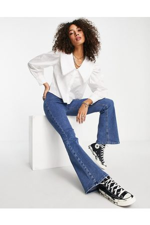 ONLY Long sleeve shirt with oversized collar in