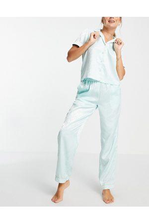 VERO MODA Satin shirt and pants pyjama set in -Green
