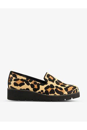 Dune Women Flat Shoes - Flatform leopard-print leather slippers