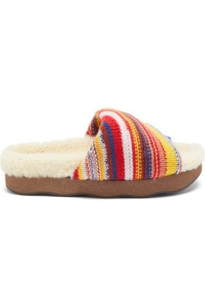 Chloé Wavy Striped Shearling-lined Cashmere-knit Slides - Womens - Multi