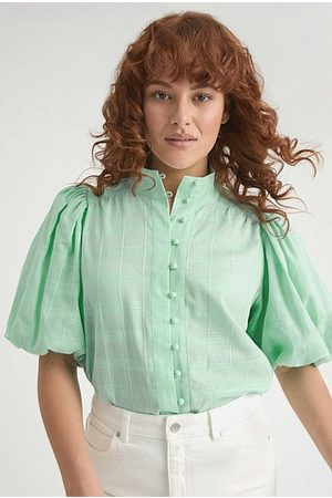 WITCHERY High Neck Button Blouse