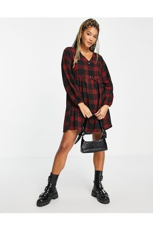 New Look Button detail smock dress in red gingham