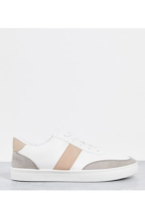 London Rebel Wide Fit side stripe lace up sneakers in white with beige-Neutral