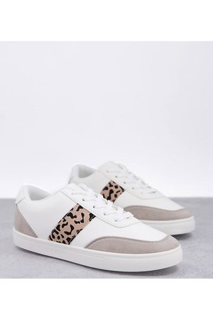 London Rebel Wide fit side stripe lace-up sneakers in white with leopard-Multi