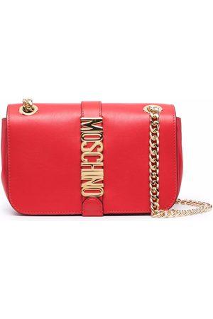 Moschino Logo-plaque leather shoulder bag