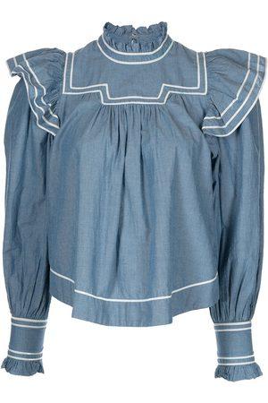 ULLA JOHNSON Ester denim pleated blouse