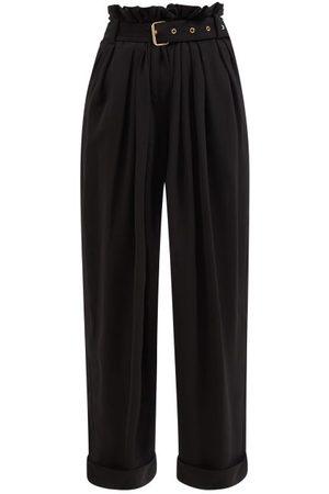 Balmain Paperbag-waist Crepe Trousers - Womens