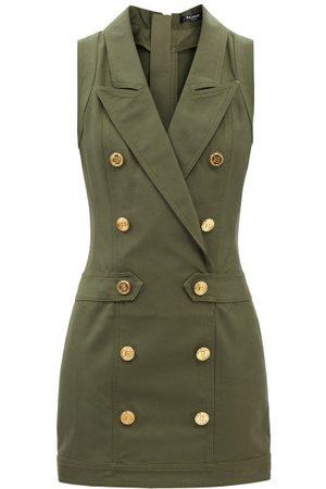 Balmain Women Mini Dresses - Monogram-button Cotton-twill Mini Dress - Womens - Khaki