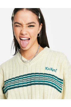 Kickers Relaxed v-neck jumper with contrast stripe and embroidered logo in wide rib knit-Neutral