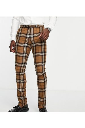 Twisted Tailor Tall suit pants in tartan check with pocket chain detail