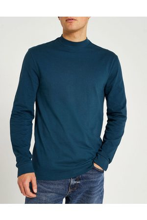 River Island Slim fit turtleneck long sleeve t-shirt in green