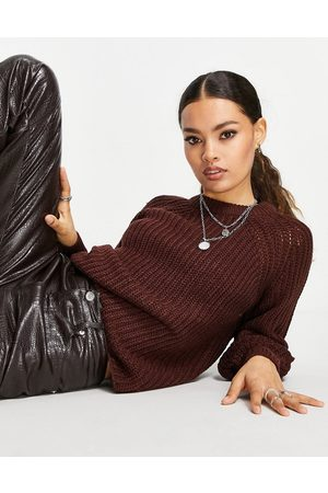 ONLY Chunky balloon sleeve jumper in chocolate