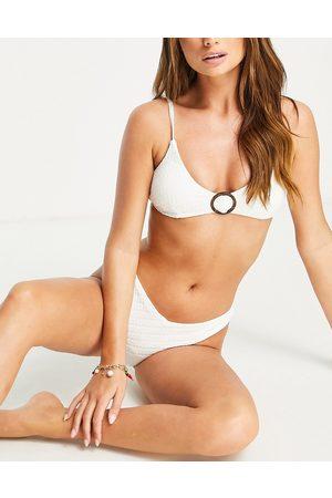 Accessorize Textured ring detail triangle crop bikini top in