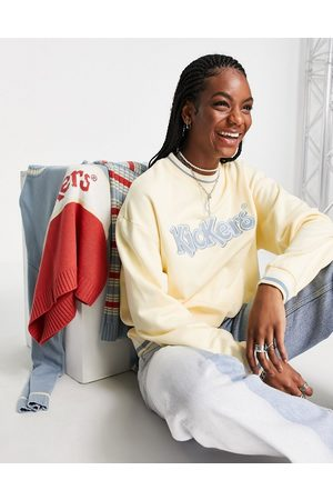 Kickers Relaxed sweatshirt with embroidery and vintage stripe trim-White