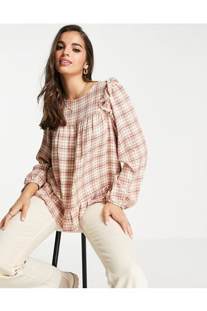 New Look Frill sleeve smock blouse in pink check
