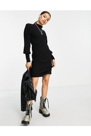 ONLY High neck jumper dress with volume sleeve in