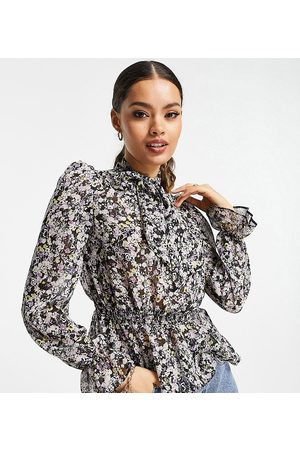 River Island Floral print pussybow blouse in purple