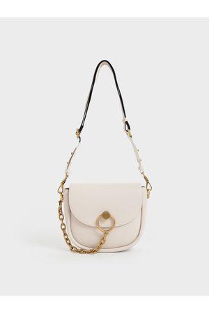 CHARLES & KEITH Women Shoulder Bags - Chunky Chain-Link Saddle Bag
