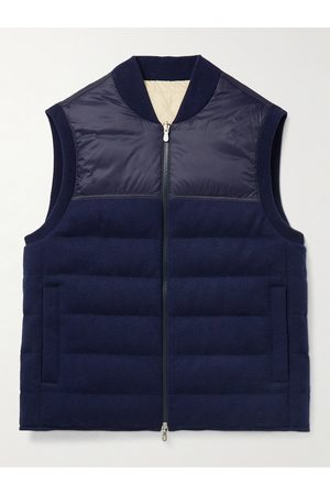 Brunello Cucinelli Men Gilets - Reversible Quilted Nylon and Cashmere Down Gilet