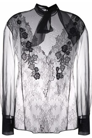 VALENTINO Women Blouses - Lace-embellished sheer blouse