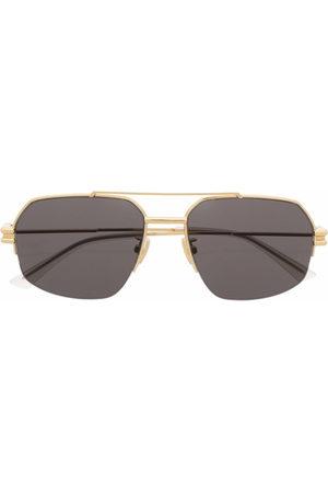Bottega Veneta Square-frame tinted aviator sunglasses