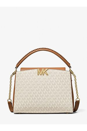 Michael Kors Women Handbags - MK Karlie Medium Logo Satchel - Vanilla/acorn - Michael Kors