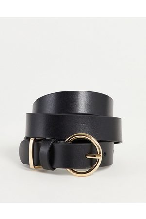Accessorize Leather belt with gold buckle in