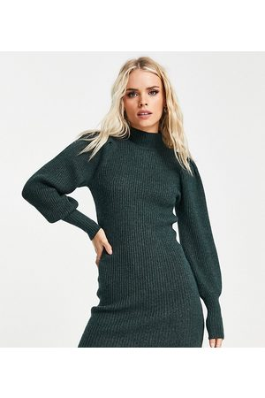 ONLY Exclusive volume sleeve high neck knitted jumper dress in