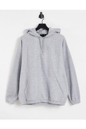 ASOS Oversized polar fleece hoodie in grey marl