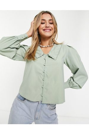 Daisy Street Blouse with vintage collar-Green