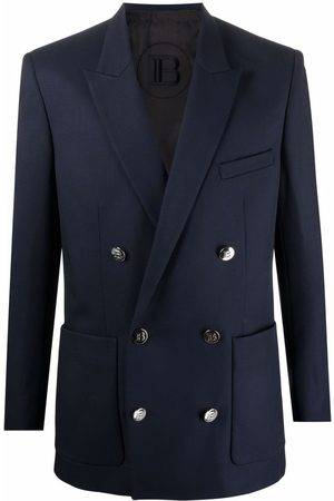 Balmain Collection Fit Double Breasted Blazer Navy