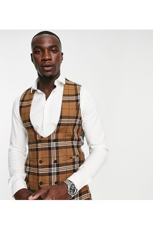 Twisted Tailor Tall waistcoat in tartan check
