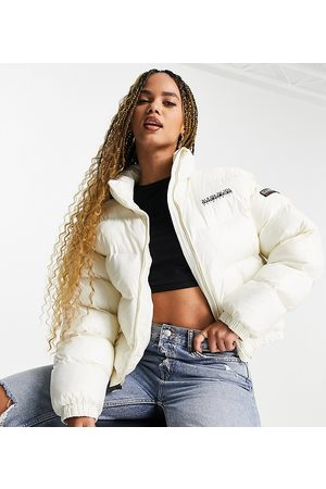 Napapijri Box cropped patent puffer jacket in off Exclusive at ASOS
