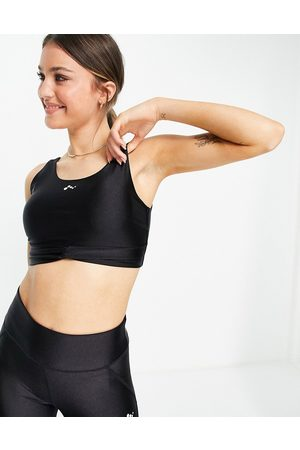 Only Play Knot front performance sports bra in shiny