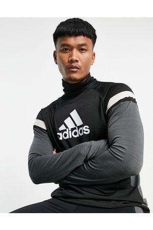 adidas Adidas Running long sleeve top with grey colour block in black