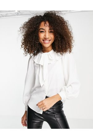 ONLY Pussybow ruffle collar blouse in