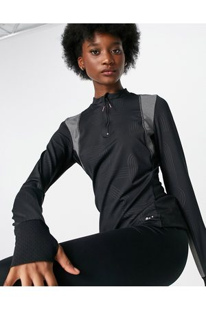 Only Play Sports performance long sleeve zip neck top in