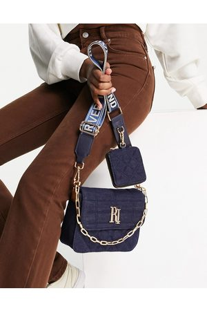 River Island Quilted denim double cross body bag in