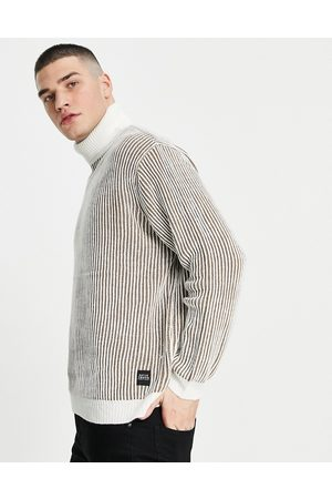 Native Youth Knitted deep ribbed roll neck jumper in -Grey