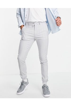 ASOS Soft tailored skinny suit pants in light blue pin stripe with drawcord waist