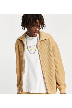 Reclaimed Inspired zip front fisherman sweatshirt (part of a set)-Neutral