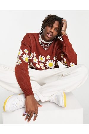 ASOS Knitted jumper with floral design-Red
