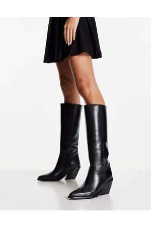 Bronx Women Knee High Boots - Heeled western pull-on knee boots in leather