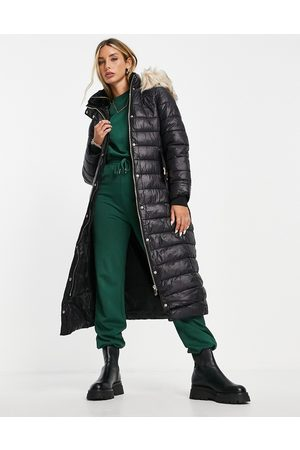 River Island Longline padded jacket with faux fur hood in