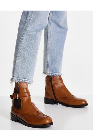Dune Chelsea boots with buckle in brown leather